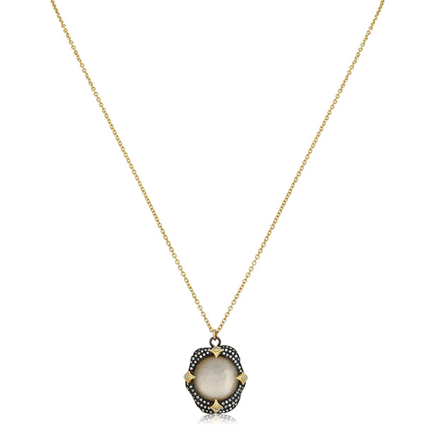 18K Yellow Gold and Smokey Quartz Old World Necklace