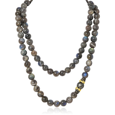Blackened Sterling Silver and 18K Yellow Gold Laboradorite Beaded Necklace