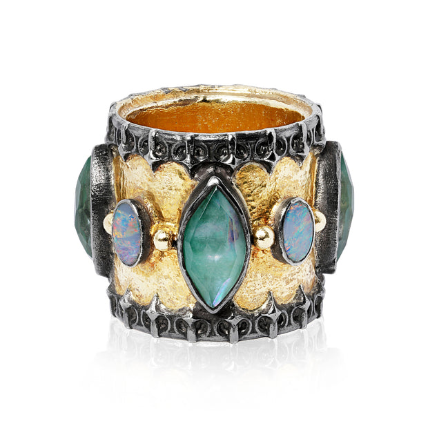 Sterling Silver Old World Collection Mixed Stone Ring