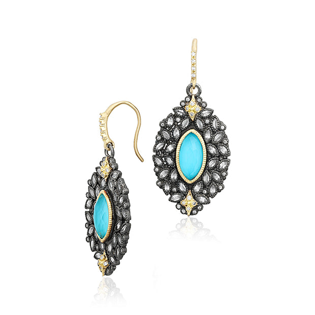 Armenta 18K Yellow Gold Drop Earrings with Diamonds and Arizona Turquoise