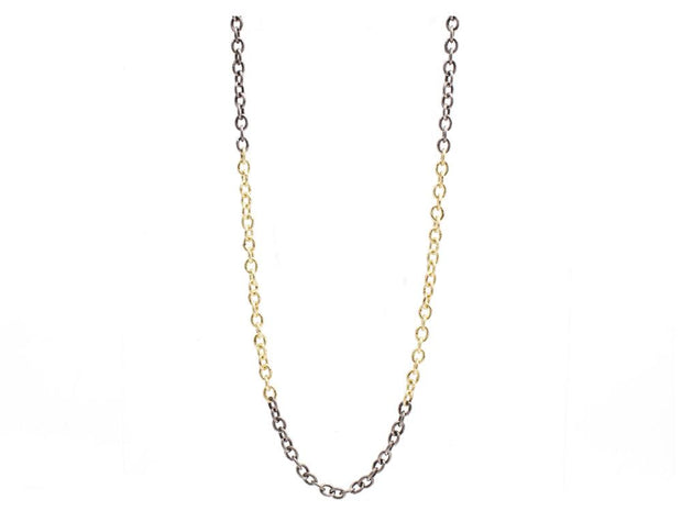 Blackened Sterling Silver and 18K Yellow Gold Link Necklace
