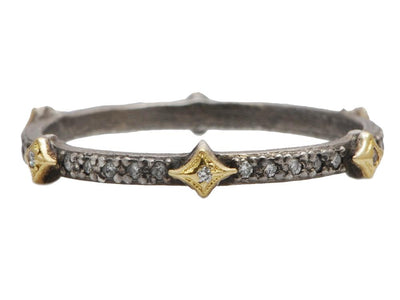 Sterling Silver and 18K Yellow Gold Old World Collection Diamond Band