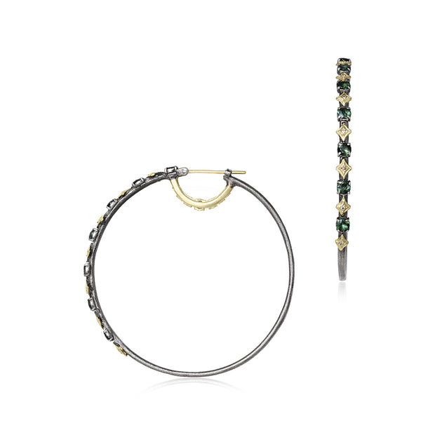 18K Blackened Gold and Sterling Silver Old World Collection Diamond Hoop Earrings