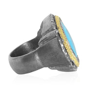 Oxidized Sterling SIlver Old World Collection Turquoise Statement Ring
