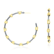 18K Yellow Gold and Sterling Silver Old World Collection Hoop Earring