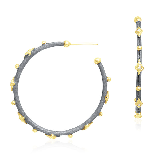 18K Yellow Gold and Blackened Sterling Silver Old World Collection Hoop Earrings