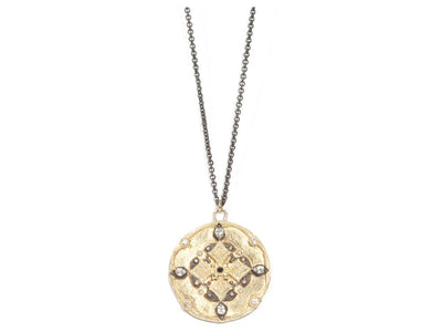 Blackened Sterling Silver 18K Yellow Gold Old World Collection Medallion Necklace.