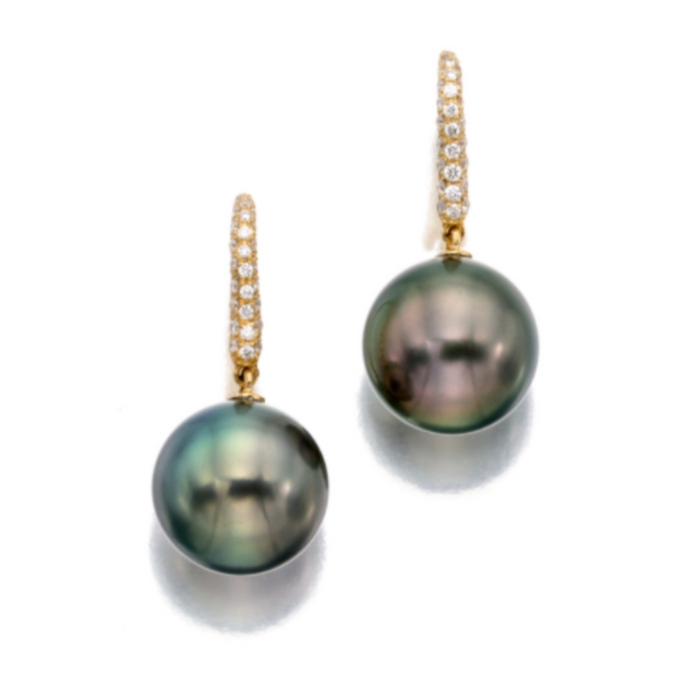 18K Yellow Gold Round Tahitian Pearl and Diamond Earrings