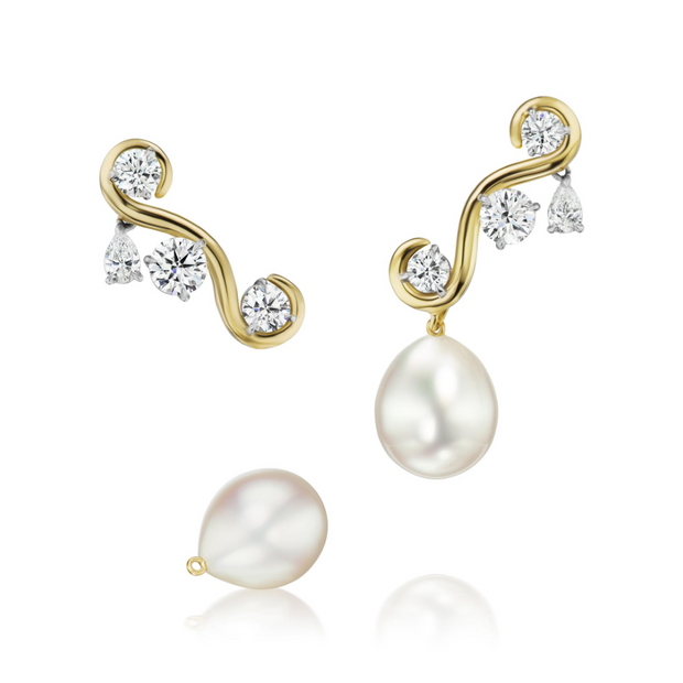 18K Yellow Gold Convertible Diamond and Pearl Earrings