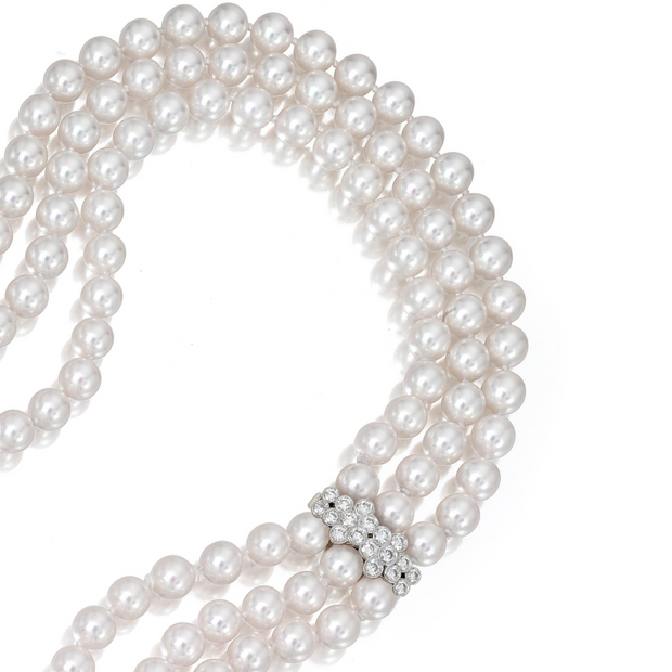 18K White Gold Bubilina Three Row Pearl and Diamond Necklace
