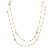 18K Yellow Gold Akoya Pearl Station Necklace