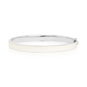 18K White Gold Subway White Sapphire White Enamel Bangle