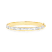 18K Yellow Gold Subway White Sapphire White Enamel Bangle