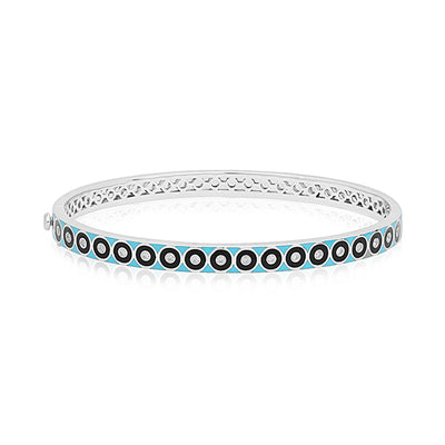 Brady Legler Sterling Silver Bullseye Bracelet with Diamonds and Black and Teal Enamel