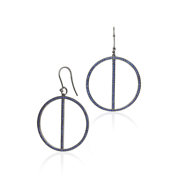 18K White Gold Black Rhodium Plated Drop Hoop Earrings