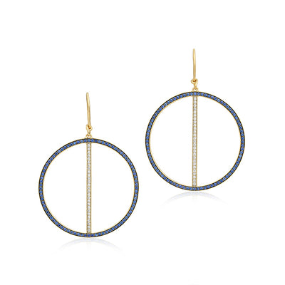 Brady Legler Yellow Gold Line Hoop Earrings with Diamonds and Sapphires
