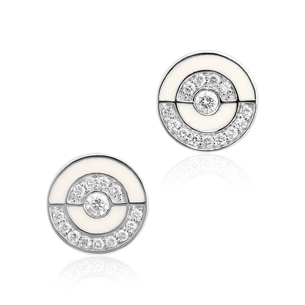 18K White Gold White Enamel Diamond Stud Earrings