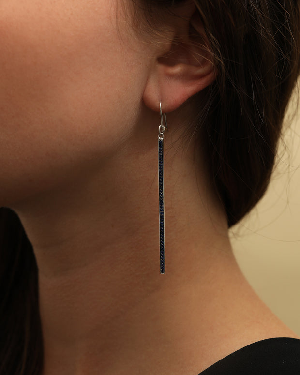 Sterling Silver Long Bar Sapphire Drop Earrings