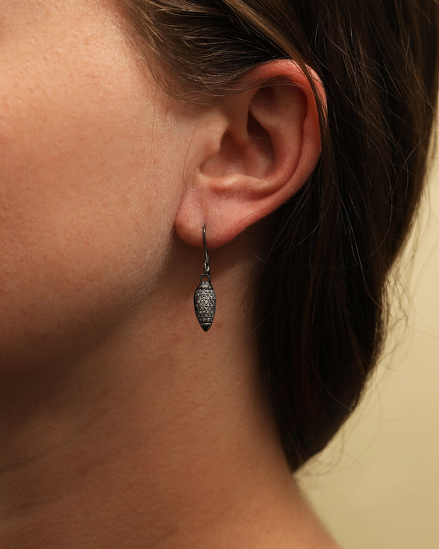 Oxidized Sterling Silver Paint Brush Diamond Earrings