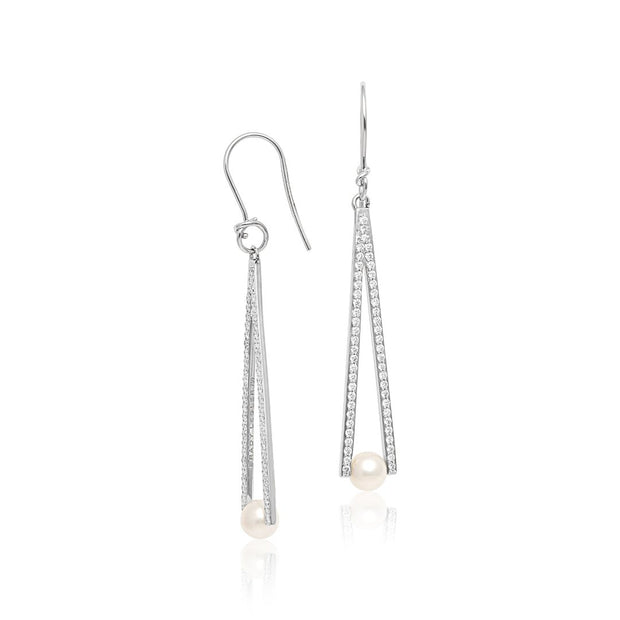 18K White Gold Triangular Pearl and Diamond Earrings