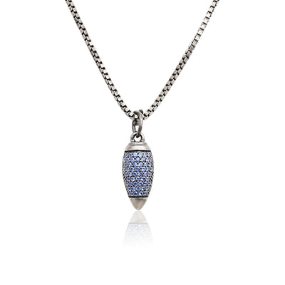 Oxidized Sterling Silver Paint Brush Blue Sapphire Pendant Necklace