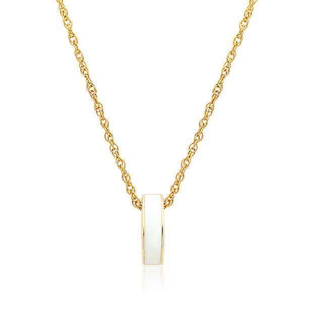 Brady Legler Yellow Gold Oval Pendant with Diamonds and White Enamel