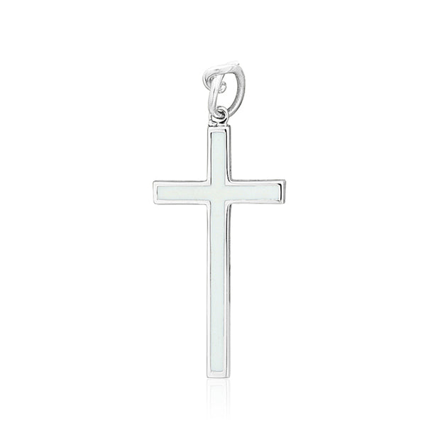 18K White Gold and Sterling Silver Diamond Cross Pendant Necklace