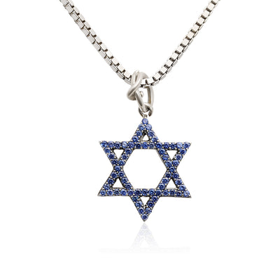 Sterling Silver Star of David Blue Sapphire Pendant Necklace