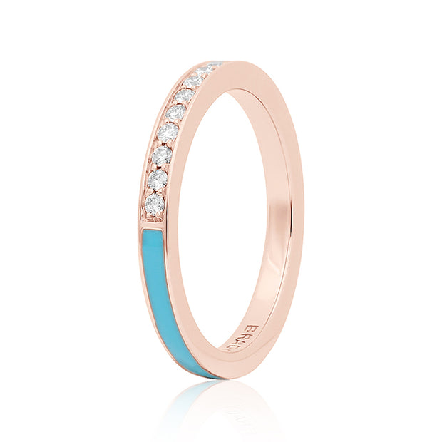 Brady Legler Rose Gold Single Subway Ring with Diamonds and Teal Enamel