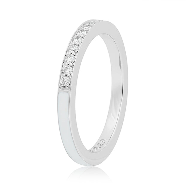 18K White Gold Single Subway White Enamel Diamond Ring
