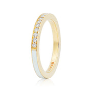 18K Yellow Gold Single Subway White Enamel Diamond Ring