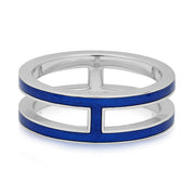 Sterling Silver Double Subway Blue Enamel Ring