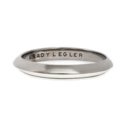 Oxidized Sterling Silver White Enamel Band