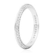 18K White Gold White Enamel Knife Edge Diamond Band