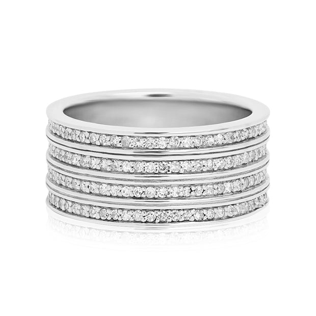 18K White Gold Four Row Diamond Eternity Band
