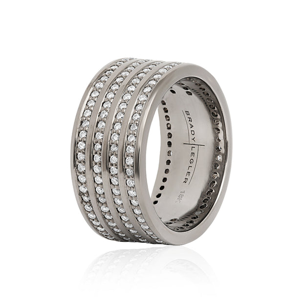 Oxidized 18K White Gold Four Row Diamond Eternity Band