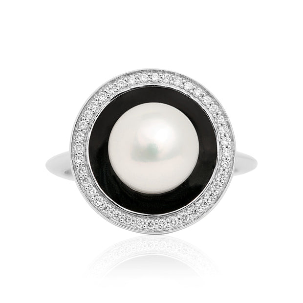18K White Gold Pearl Black Enamel Diamond Ring