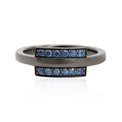 Oxidized 18K White Gold Double Bar Blue Sapphire Ring