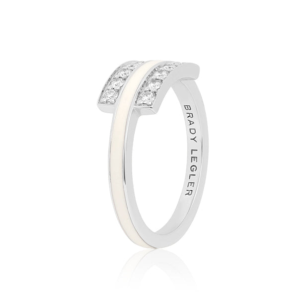 18K White Gold White Enamel Double Row Diamond Ring