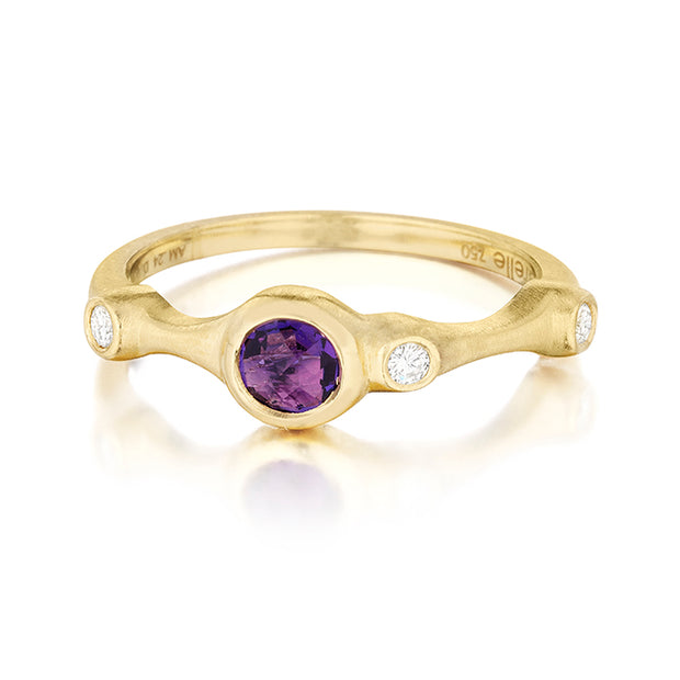 18K Yellow Gold Amethyst Ring with Diamonds