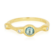 18K Yellow Gold Topaz and Diamond Ring