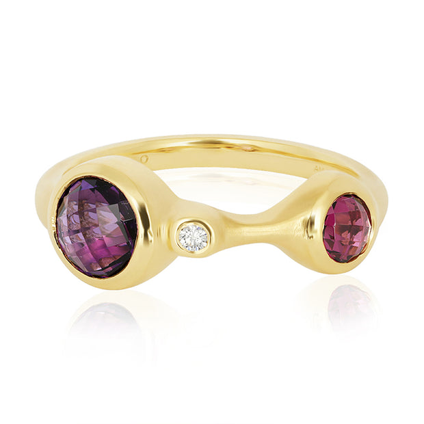 18K Yellow Gold Ring with Diamond, Garnet and Amethyst