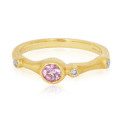 18K Yellow Gold Pink Saphire and Diamond Stack Ring