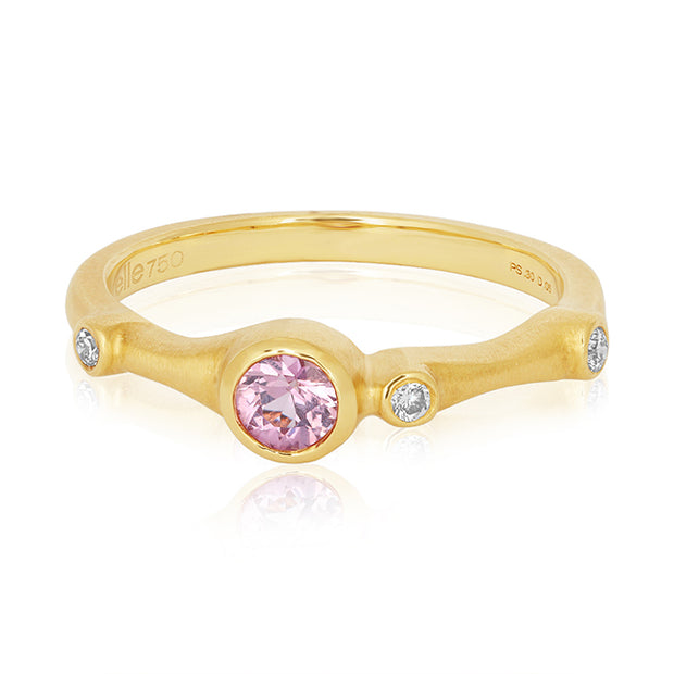 Carelle 18K Yellow Gold Pink Saphire and Diamond Stack Ring