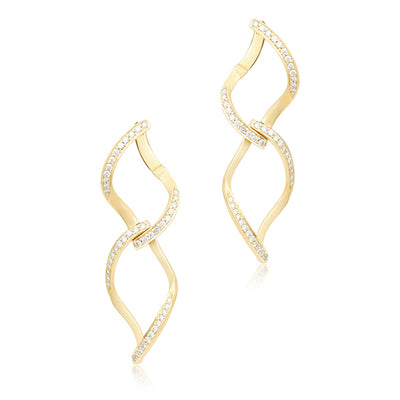Carelle 18K Yellow Gold Diamond Leaf Earrings