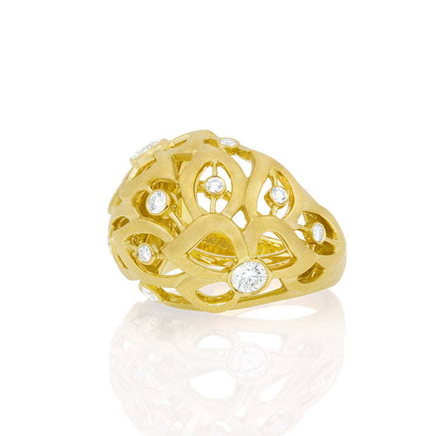 Carelle Florette Collection Domed Floral Ring with Diamonds