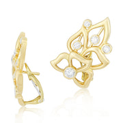 18K Yellow Gold Diamond Florette Collection Stud Earrings
