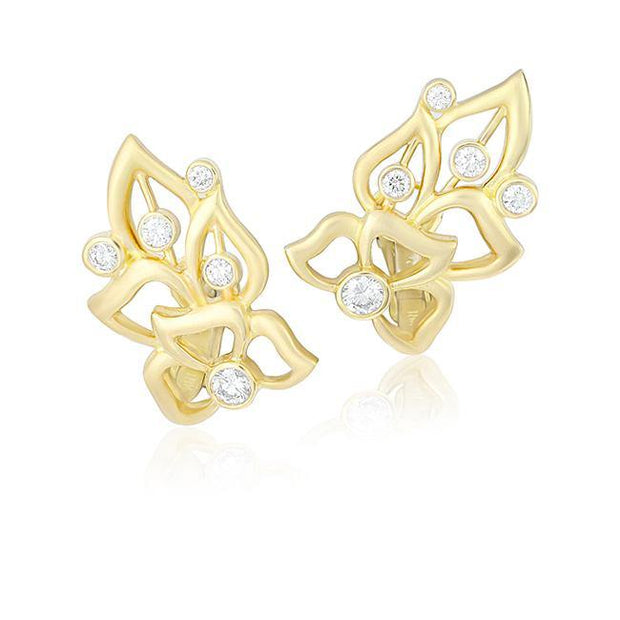Carelle 18K Yellow Gold Diamond Florette Collection Stud Earrings