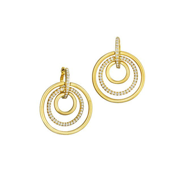 18K Yellow Gold Diamond Moderne Collection Earrings