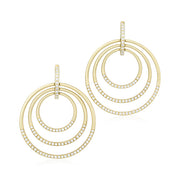Yellow Gold Moderne Collection  Earrings top, pave set with round diamonds,